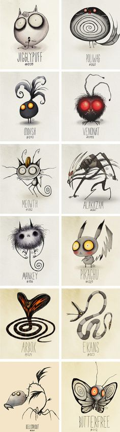 Tim Burton-esque Pokemon. *http://www.pinterest.com/idahay/character-design/