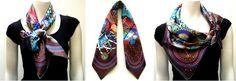 Hermes 'Le Laboratoire du Temps' scarf in various knots