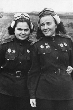 """Nadezhda Popova, right, and her co-pilot Katya Ryabova were members of the legendary 46th Night Bombing Regiment for the U.S.S.R. during World War II. Composed only of women, the group was known unofficially as """"Stalin's Falcons."""" But the Germans had a different name for the women in their bomb-laden bi-planes: Night Witches. Lt. Col. Nadezhda Popova, who was named a Hero of the Soviet Union, died on July 8, 2013 at the age of 91."""