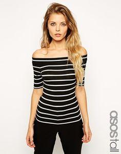 ASOS TALL Top In Stripe With Bardot Neckline