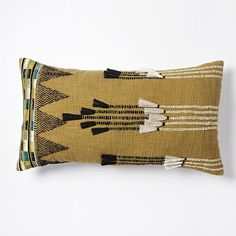 Tassel Stripes Pillow Cover - Warm Olive