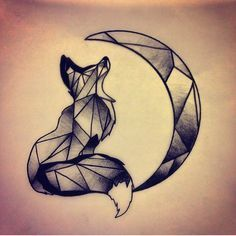 unique Geometric Tattoo - Wolf and Moon instead of fox...