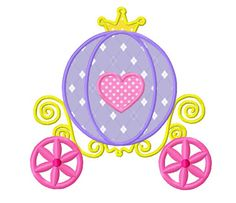Princess+carriage+applique+machine+embroidery+by+WendysStitch,+$1.49