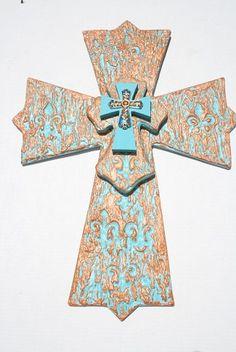 Santa Fe style cross with engraved fleur de lis by davinciandvine on Etsy, southwest home decor or great gift, $59.00