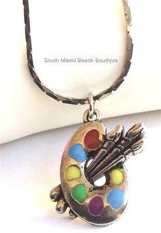 Silver Plated Artists Palette Necklace Artist Pallet Art Teacher Gift Enamel USA #SouthMiamiBeachBoutique #Pendant