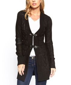 This Black Toggle Cardigan by Icy Fashion is perfect! #zulilyfinds