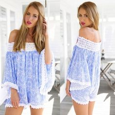 0ef047ae149b Summer Women Fashion Slash Neck Off Shoulder Lace Splice Print Loose Short  Jumpsuit