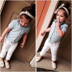 Toddler girl cute summer outfit denim bandeau top knot joe fresh Little Girl Outfits, Little Girl Fashion, Cute Summer Outfits, Toddler Fashion, Toddler Outfits, Kids Fashion, Joe Fresh, Bandeau Top, Denim Outfit