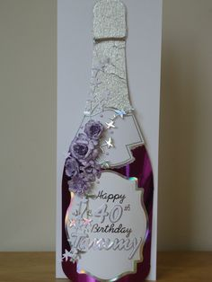 A4 card folded DL - Champagne bottle made using Arty Farty template