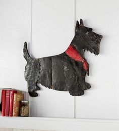 Scottish Terrier Wall Hanging Art Scottie Decorative Handmade Recycled Metal Dog