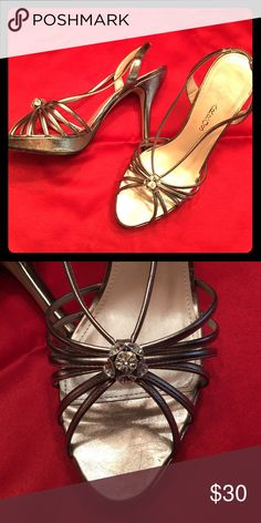 Shoe Platform evening sling back sandal. Crystal ball detail at toe. Color is Mushroom Metallic Caparros Shoes