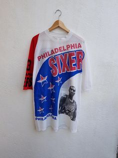 Vintage 90s RARE NBA Philadelphia 76ers Sixers Star Player Full Printed  Nets Jersey Shirt 23f52f196