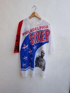 Vintage 90s RARE NBA Philadelphia 76ers Sixers Star Player Full Printed  Nets Jersey Shirt 228124b68
