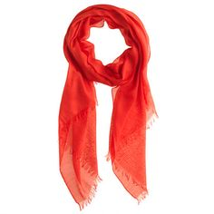 """my red-orange scarf is showing wear and this might be THE replacement, but since it's online only, I'm not sure it's the right color...refined silk-cashmere wrap in """"Brilliant Flame"""" (J. Crew)"""