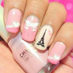 I love Paris nail art, how about you Fashionista? These are Sweet and soft combination color of nail polishes with soft pink and white. Nail polish ideas with Eiffel Paris theme for simple nail art works. Perfect Nails, Gorgeous Nails, Love Nails, How To Do Nails, Fun Nails, Pretty Nails, Fingernail Designs, Nail Polish Designs, Cute Nail Designs
