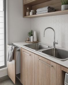 I regret installing double sinks and an integrated laundry hamper into my laundry. 😂 Design a laundry that your future… Laundry Room Sink Cabinet, Laundry Room Utility Sink, Laundry Hamper, Laundry In Bathroom, Laundry Art, Interior Design Living Room, Living Room Designs, Kitchen Decor, Kitchen Design