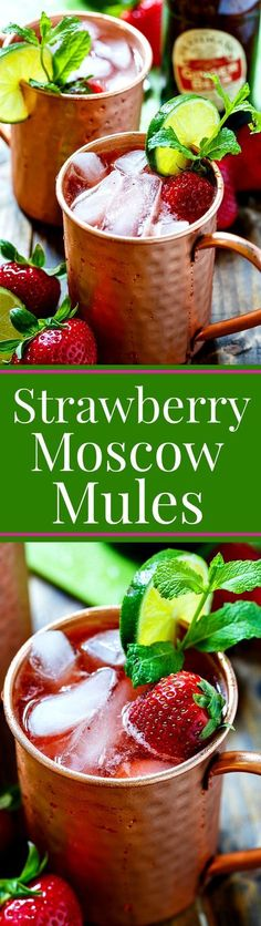 Strawberry Moscow Mules make such a refreshing summer cocktail. Love the fresh strawberry flavor! #summercocktails