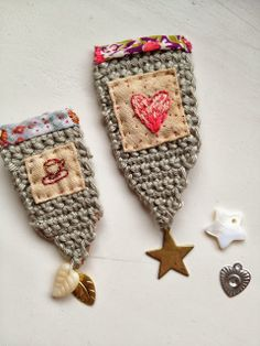 crochet, embroidered heart, brooches, One Bunting Away
