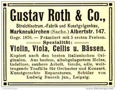 Original-Werbung/ Anzeige 1908 - STREICHINSTRUMENTE ROTH MARKNEUKIRCHEN - ca. 55 x 40 mm