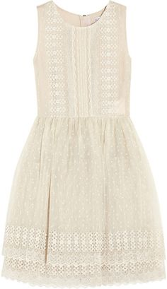 RED VALENTINO Floral Embroidered Silk organza Dress