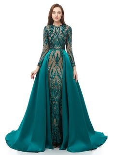 Elegant Sparkly Lace Long Sleeve Prom Dress with Detachable Satin Skir – ChicSew Winter Prom Dresses, Navy Prom Dresses, Prom Dresses Long With Sleeves, Lace Bridesmaid Dresses, Mermaid Evening Dresses, Prom Party Dresses, Prom Gowns, Evening Gowns With Sleeves, Wedding Dress