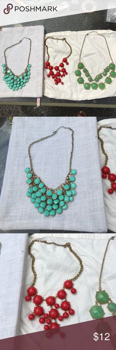 3 Bubble Necklace Bundle red, turquoise, acqua blu Three bubble necklaces, costume gold hardware and chain. Clasps and necklaces in excellent condition. Jewelry Necklaces