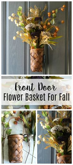 A stunning front door flower basket for fall that comes together in about 15 minutes using silk flowers and a basket! A fun twist on a typical wreath. Small Chalkboard, Homemade Wreaths, Wooden Basket, Wooden Flowers, Floral Foam, Wreath Tutorial, Front Door Decor, Fall Diy, Flower Basket