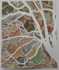 Tree Silhouette original watercolor painting by lvohamilton, $120.00