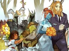 I love the Idea of Asgore walking Undyne down the aisle on Undyne and Alphys's Wedding Day as he is like a father to her in the game