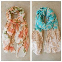 Feminine Scarves <3 #roses #floralprint #ombre #animalprint