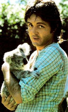 Paul McCartney Holding A Smiling Koala In His Arms - Lomography