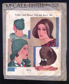 193O McCall Pattern Ladies Hat Beret