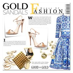 """#goldsandals"" by insaneryk on Polyvore featuring moda, Post-It, Dolce&Gabbana, Elizabeth Arden e Estée Lauder"