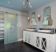 Kerrie Kelly Design Lab designed this HGTV Bath Crashers Sophisticated Bathroom using Uttermost's Cattaneo Wall Mirrors, #08077. Pairing the mirrors with their strips of hand-beveled mirror piece, surrounded by a beaded inner and outer edge helped create a perfectly luxurious master suite.