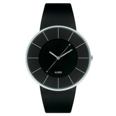 Alessi Men's AL8004 Luna Leather and Case in Steel Black Designed by Alessandro Mendini Watch alessi. $135.00. Water-resistant 5 atm. Automatic Movement. Case diameter: 36 mm. Analog display;. Stainless steel case