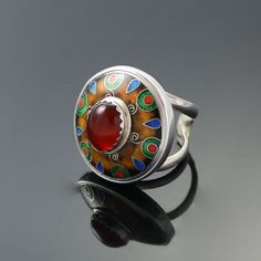 Hey, I found this really awesome Etsy listing at https://www.etsy.com/listing/185554306/cloisonne-enamel-carnelian-silver-ring