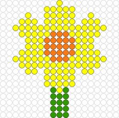Kralenplank Narcis Perler Beads, Fuse Beads, Pearl Beads Pattern, Pearler Bead Patterns, Spring Theme, Square Patterns, Beaded Bags, Plastic Canvas Patterns, Bead Art