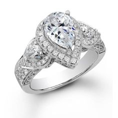 $1789 on Amazon 1.50 Carat (ctw) 14K White Gold Round & Pear Diamond Engagement Bridal Ring: Jewelry: Amazon.com
