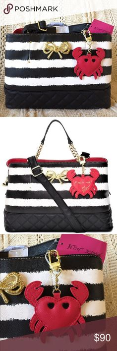"🦀 Betsey Johnson stripe shopper crab charm NWT! 🦀 Betsey Johnson black and white stripe multi compartment shopper, gold bow accent, ""pinch me""crab charm, and gold chain detail on straps.  Measures 13.5""Lx9""Hx6""W, handles are a 5"" drop and the shoulder strap is removable and adjustable.  This purse is super cute and classy, and a great size!  NWT! 🦀 Betsey Johnson Bags"