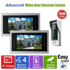 Homefong 10  inch  TFT LCD Door Phone Video Doorbell System with  Camera Wired Video  1200TVL 1V2 Home Apartment Entry Kit #Affiliate