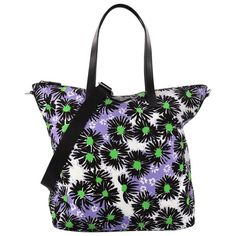 b4234e308affcd Prada Leather-Trimmed Floral Tote Bag