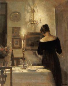 Woman near the Dinner Table by Carl Vilhelm Holsoe #holsøe  #painter