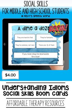 $4.00 · If you're looking for Boom cards for speech therapy to work on social skills for teens, these cards are just what you are looking for. This is a NO prep speech therapy activity: Buy now and you are ready to go! Find this and many more speech therapy resources for teens at Misty's Speech World! Buy now: to purchase this deck of boom cards, click on this pin and purchase to add this therapy resource to your speech therapy toolkit! Reading Task Cards, Learning Cards, Receptive Language, Context Clues, Speech Therapy Activities, Figurative Language, Special Education Teacher, Reading Skills, High School Students