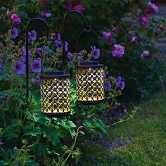 Riad Outdoor LED Solar Lantern Stake Lights - Antique Bronze - Set of 2