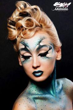 eye make-up designs Exotisches Makeup, Costume Makeup, Zombie Makeup, Makeup Stuff, Yeux Halloween, Halloween Face Makeup, Halloween Zombie, Alien Make-up, Futuristic Makeup