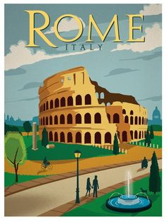 Image of Vintage Rome Travel Poster