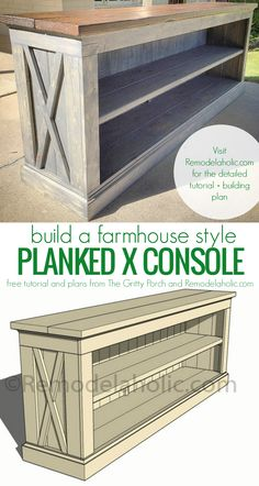DIY tutorial and plans to build your own farmhouse style planked X console for a TV or dining room sideboard. DIY tutorial and plans to build your own farmhouse style planked X console for a TV or dining room sideboard. Diy Wood Projects, Furniture Projects, Home Projects, Home Furniture, Outdoor Furniture, Diy Furniture Plans, Furniture Makeover, Homemade Furniture, Building Furniture