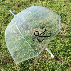 Mr & Mrs personalized clear dome bubble umbrella • perfect for engagement photos and rainy day weddings •