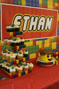 LEGO themed kids birthday party - Cake and cupcake display table