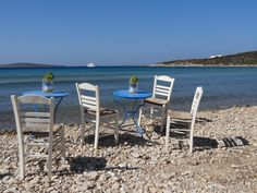 Chairs and tables on Aliki Beach, Paros island